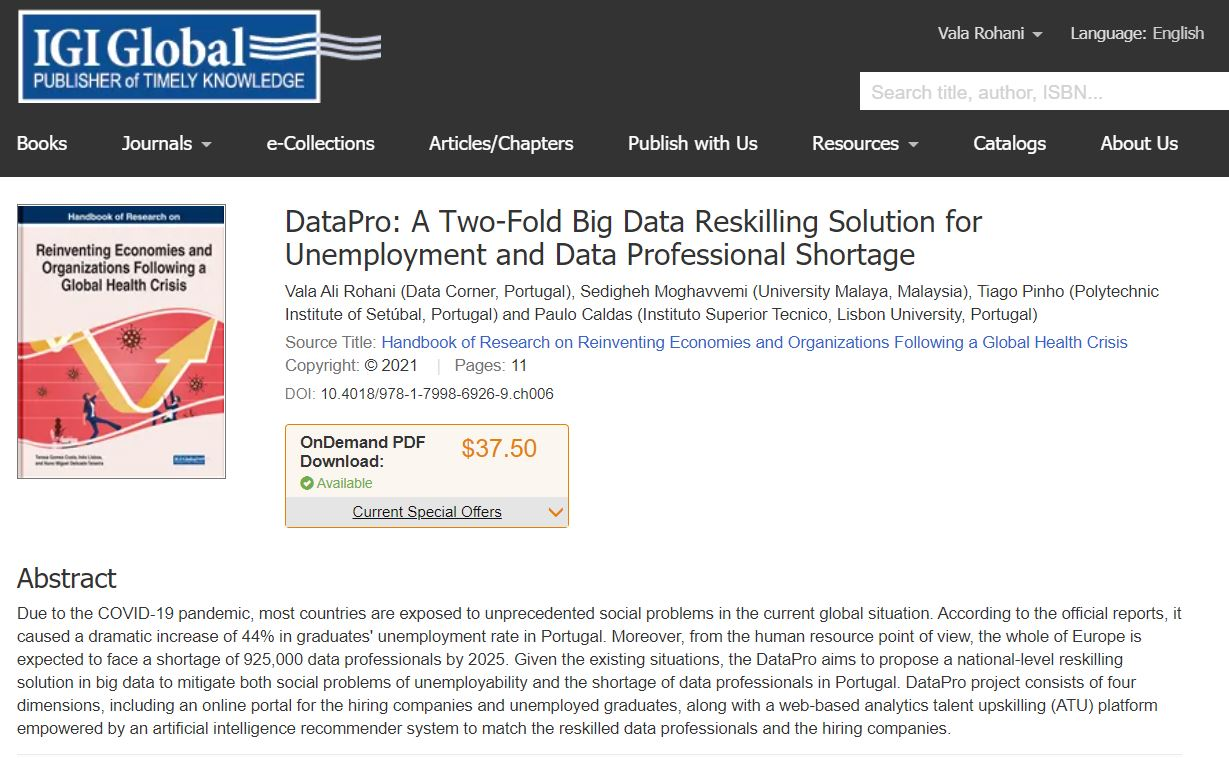 Our DataPro article published in IGI Global journal